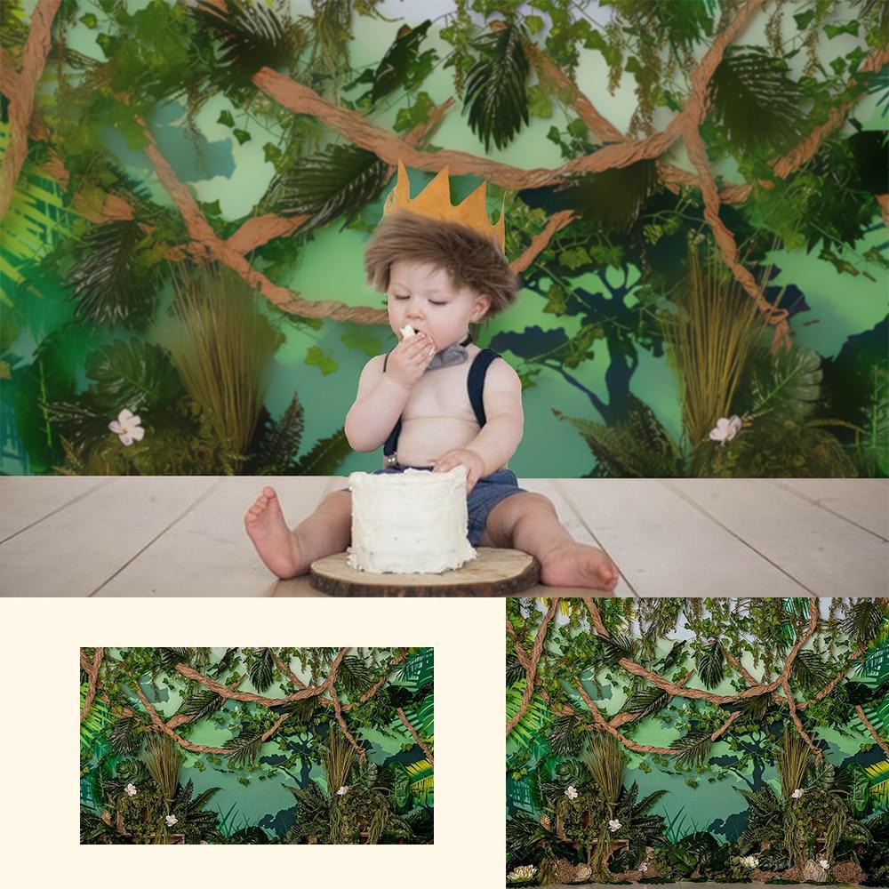 Wild One-Newborn Baby Kids Portrait Backdrops Jungle Forest Baby Shower Birthday Party Decor Wild One Cake Smash Photo Studio