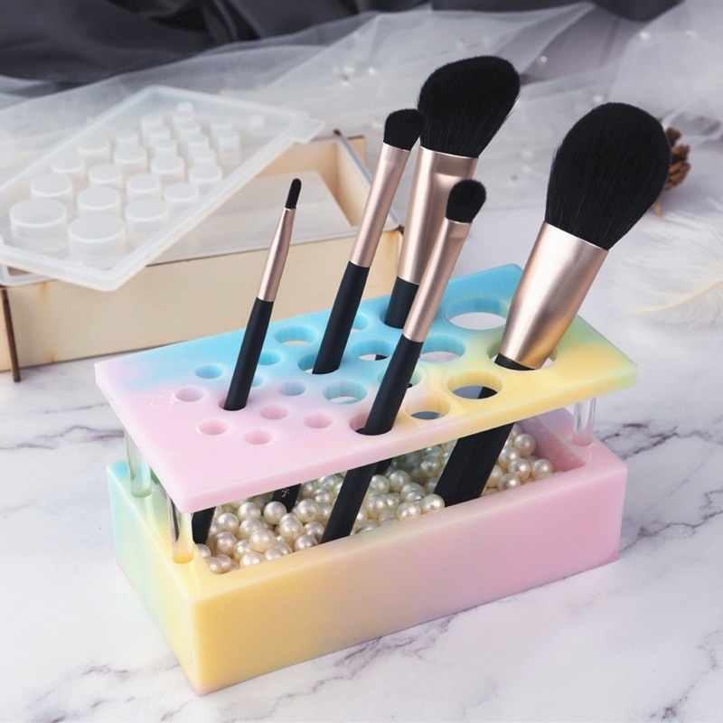 Handmade Makeup Brush Holder Organizer Resin Mold Cosmetics Brushes Storage Solution Resin Casting Mold Art Crafts Tools