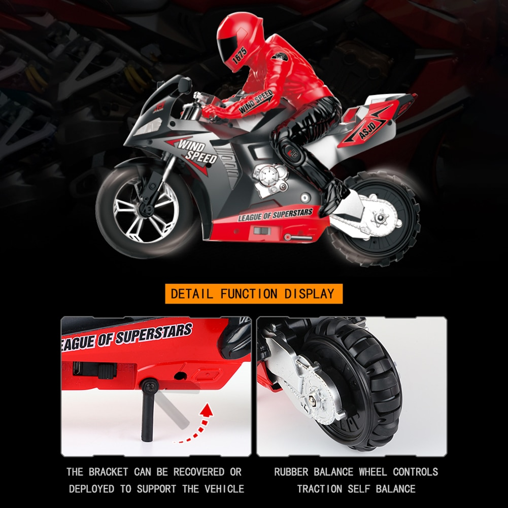Rc Car 2020 De Alta Velocidad 1/6 2.4G 6 A-xis Stunt Drifting Motorcycle Motorbike LED Sound Model Kids Birthday Toy Gift. enlarge