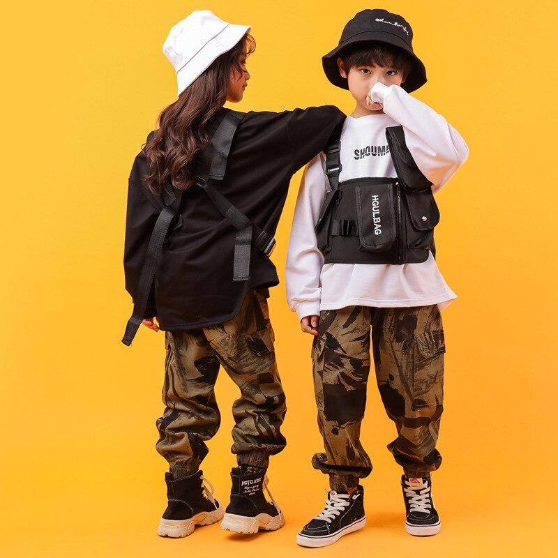 Детская модная толстовка камуфляжная повседневная одежда в стиле хип хоп брюки