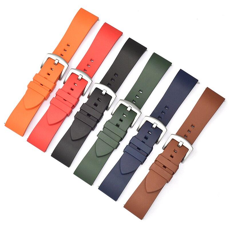 Substituição fluororubber pulseira de relógio para huawei gt pulseiras pulseira de silicone à prova dwaterproof água ajustável esporte 20 22mm