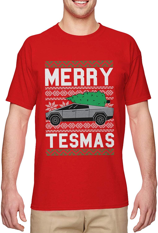 Haase Unlimited Merry Tesmas - Cybertruck Futuristic Car Meme Men's T-Shirt
