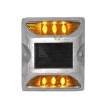 10ชิ้นพลังงานแสงอาทิตย์ LED สตั๊ดสีเหลืองแผนที่กระพริบ One Pack