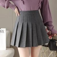 korean insititute wind high waist pleated mini skirt women autumn winter casual short skirts womens cute skirt