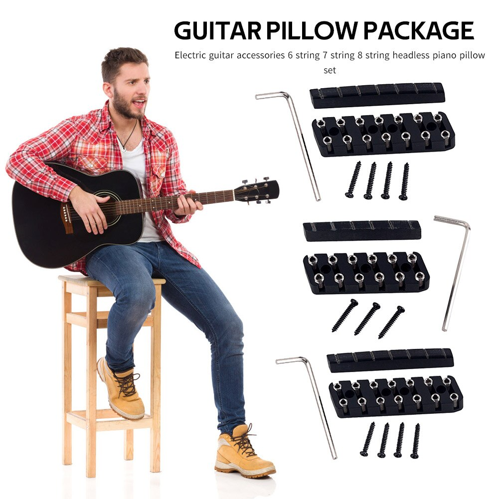 6/7/8 cuerda trémolo sistema de bloqueo puente de guitarra sin cabeza accesorios para tuerca ligero portátil elementos de música