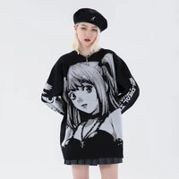 2021 unisex hip hop streetwear vintage style harajuku knitting sweater anime girl knitted death note sweater pullover