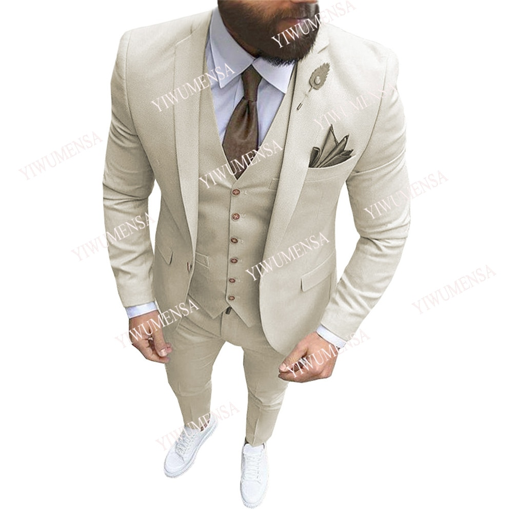 YIWUMENSA Last Design Slim Fit Ivory Men Suits For Groom Wear Business Formal Prom Daily Blazer 3 Pc