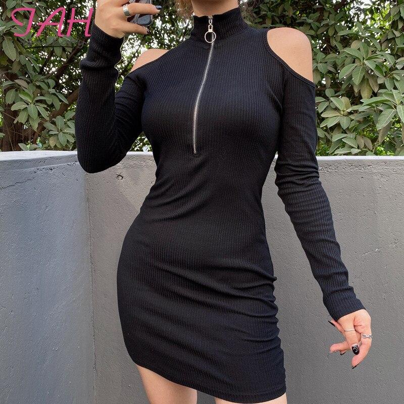 Iamhotty vestido de ombro com zíper, vestido preto para mulheres, manga longa, gola alta, bodycon, mini vestidos casuais, moda elegante, robe