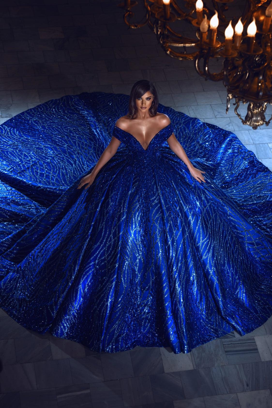 فستان فاخر بلون أزرق ملكي 2021 فساتين كوينسيانيرا بأكتاف مكشوفة مطرز ومزين بالترتر الحلو 16 فستان ملابس للحفلات فساتين الأميرات
