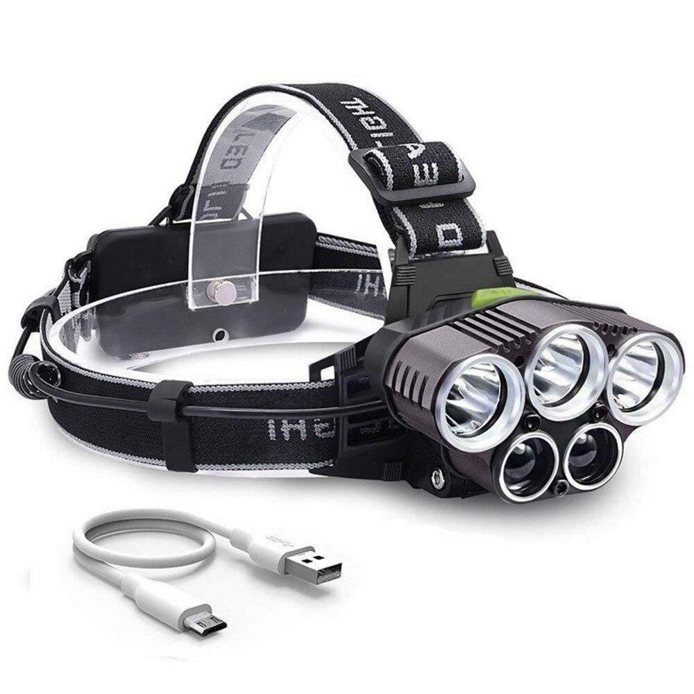 LEADLY 5 LED T6 faro linterna LED para cabeza linterna de potencia linterna de cabeza para Camping pesca al aire libre USB batería de alimentación