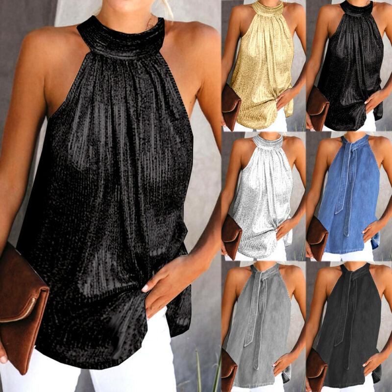 Womens Summer Sleeveless Vest Halter Neck Tanks Tunic  Ladies Plus size S-XL loose Tops  Tees