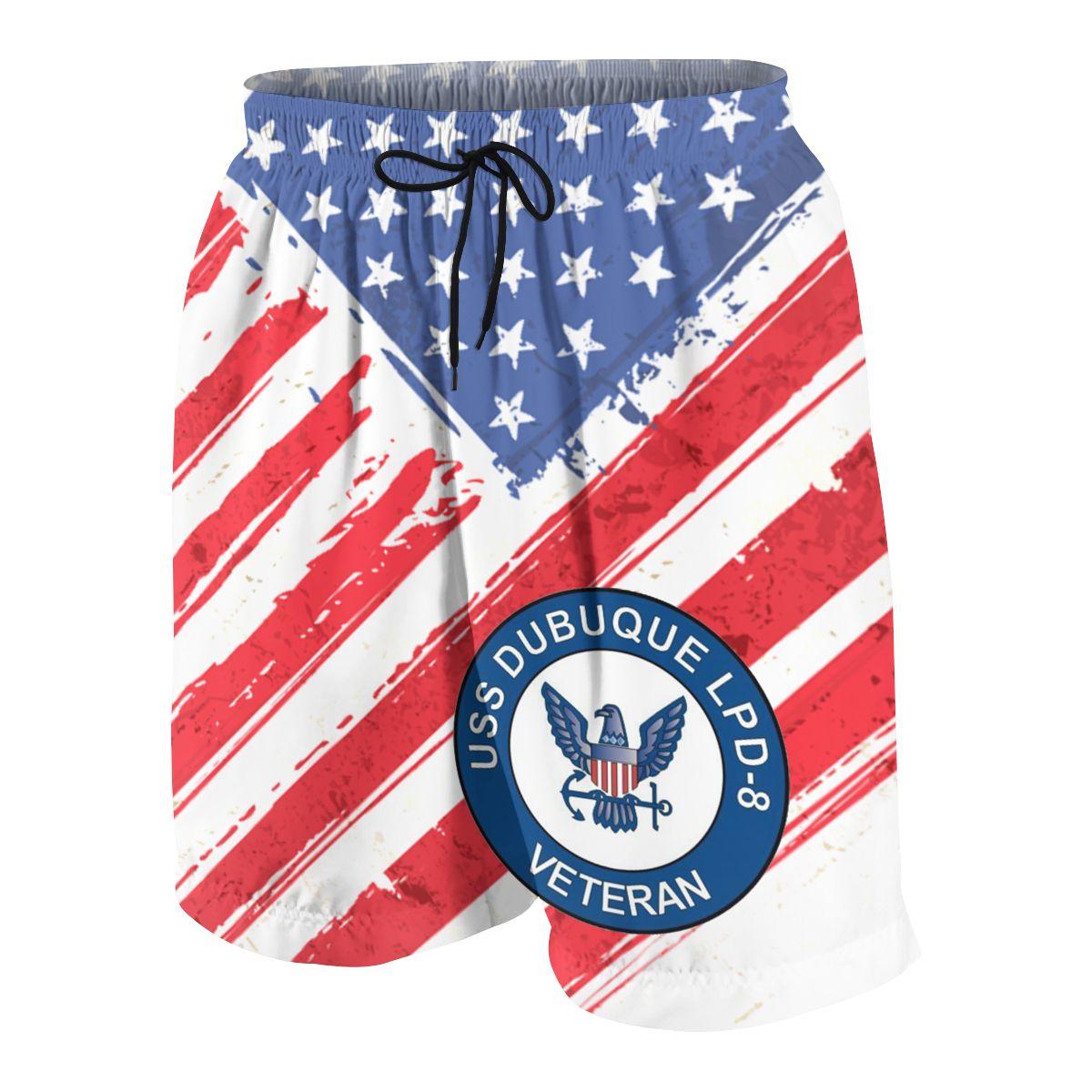 US Navy USS Dubuque LPD-8 Ship Veteran Sports Shorts Teen Summer Skinny Casual Beach Short Pants Jogger Fitness Sweatpants