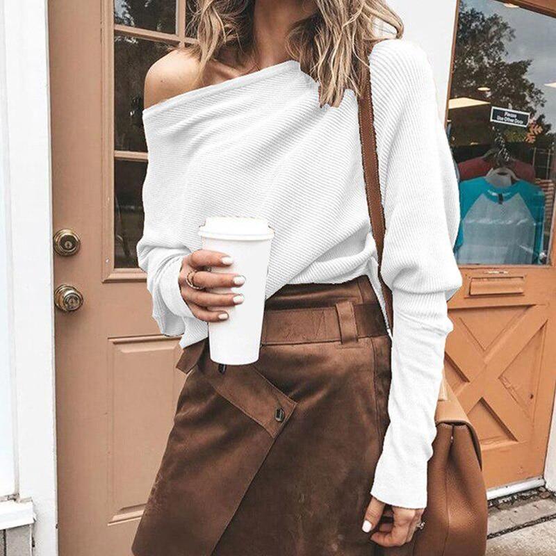 Mulheres fora do ombro camisola outono nova slash pescoço manga comprida malhas moda cor sólida malha topos feminino casual solto pulôver