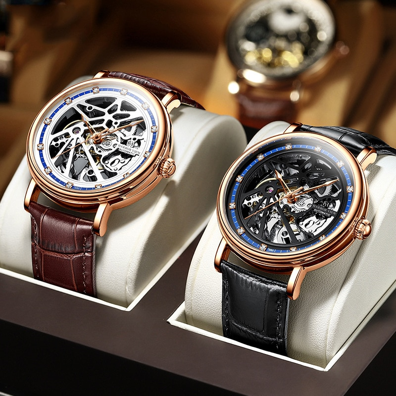 High-end Men's Business and Leisure Watch Five-pointed Star Hollow Luminous Pointer Automatic Mechanical Watch Male enlarge