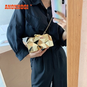 ANOKHOGI Fashion Korean Style Shiny Sequins Female Shoulder Bag Hot Sale Evening Bag Metal Straps Handbag ZX80