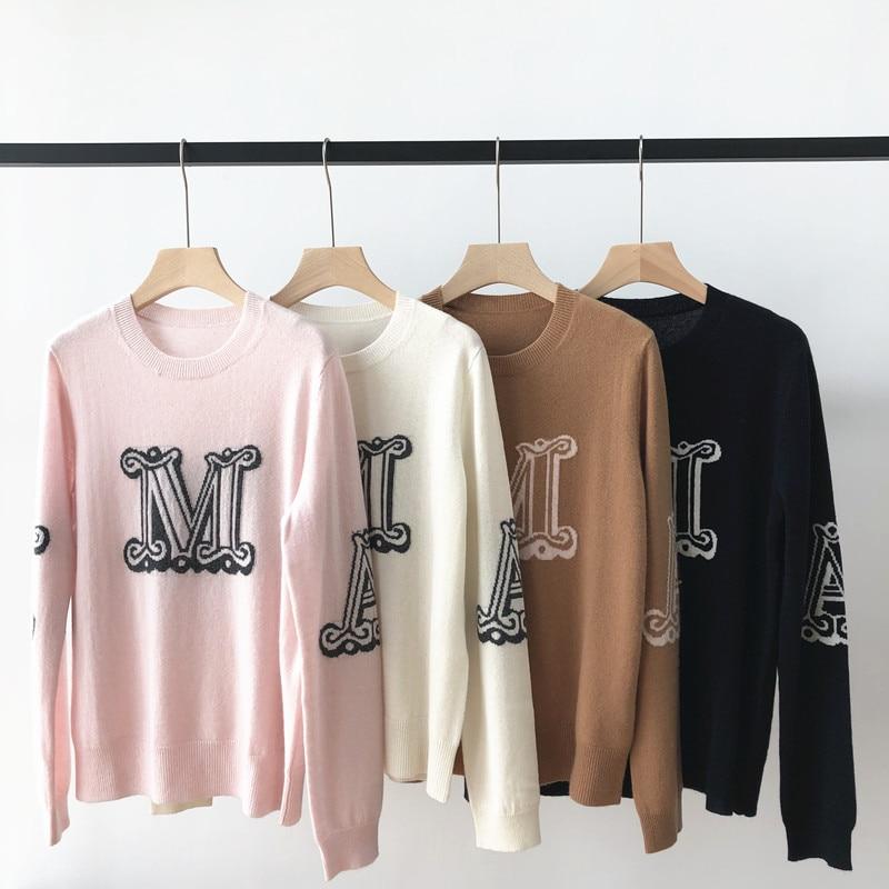 Женский свитер, осень 2021, женский новый жаккардовый контрастный свободный модный кашемировый свитер с буквами и круглым вырезом и длинным р...
