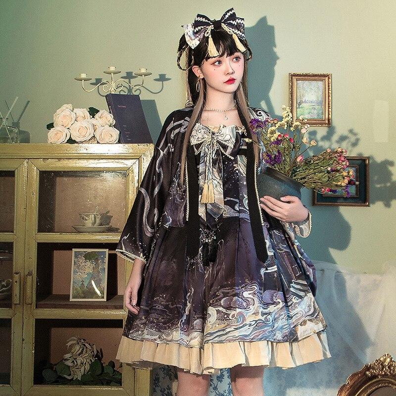 يتجول في الحديقة ~ الحلو لوليتا عالية الخصر فستان JSK مع سترة