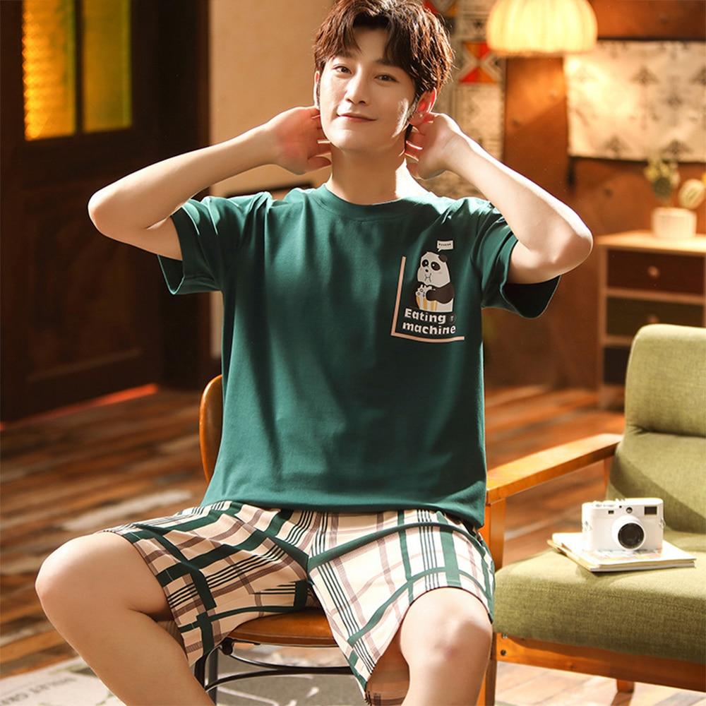 Summer Cotton Pyjamas Spring Casual Pajamas With Plaid Shorts For Men Lovely Panda Print Pajama Sets Comfortable Cool Sleepwear