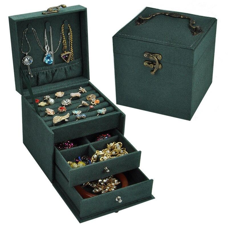 صندوق مجوهرات عتيق على الطراز الأوروبي صغير متعدد الطبقات منقوشة سوار الأذن مسمار الأميرة بسيطة تخزين المجوهرات علبة مستحضرات التجميل