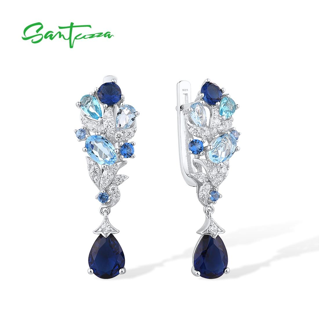 Женские-серебряные-висячие-серьги-santuzza-из-стерлингового-серебра-925-пробы-со-сверкающими-белыми-фианитами-и-синим-камнем-Изящные-Ювелирные