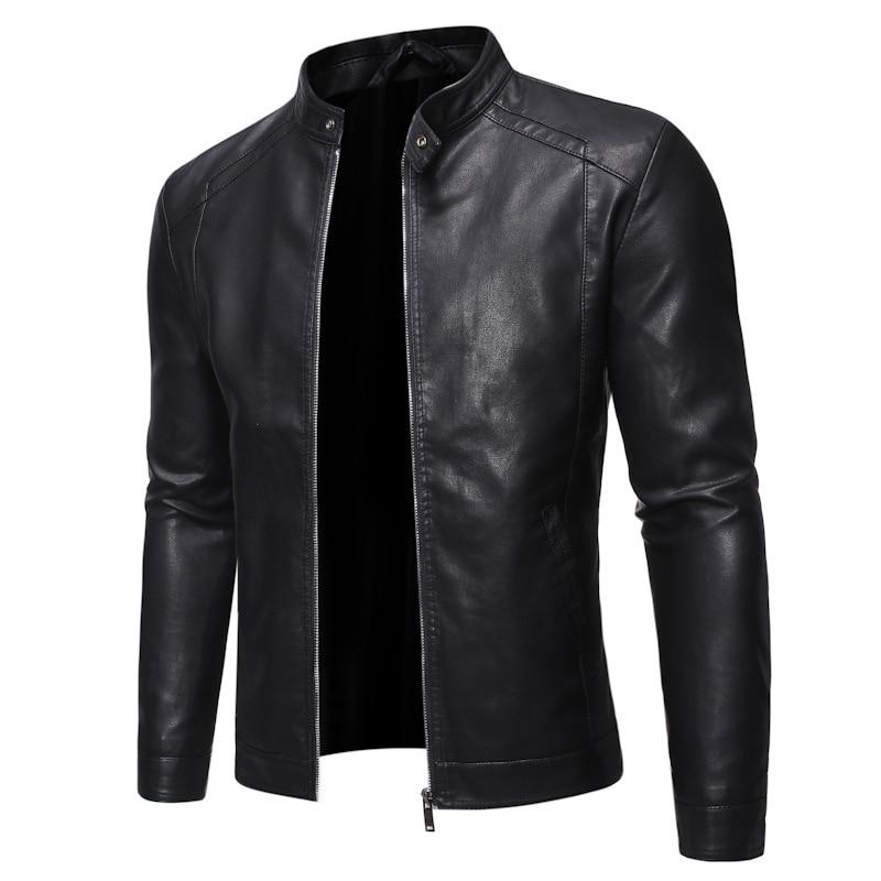 2020 Men Faux Leather Jacket Motorcycle 5XL Men's Jackets Black Jaqueta de Couro Masculina Outwear Male PU Leather Coats Mens