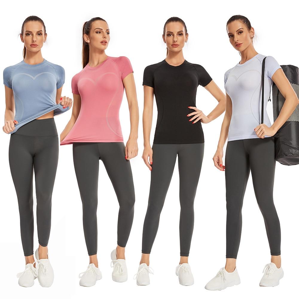 Newest Sport T-shirt Women Breathable Short Sleeve Crop Top Sportwear Women Top Workout Clothes Running Fitness Shirt 4 Colors