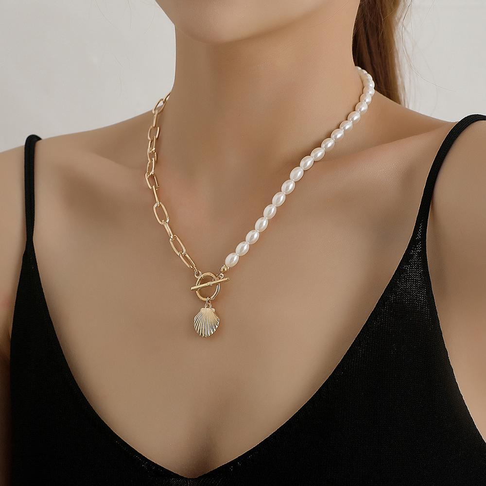 Boêmio pérola pingente colares para as mulheres charme gótico pérola concha collier gargantilhas 2020 nova moda jóias festa presente