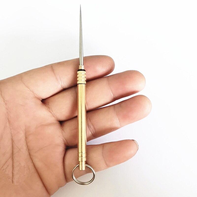 Palillo de dientes de titanio al aire libre palillo de dientes de la fruta tenedor Camping herramienta palillo titular