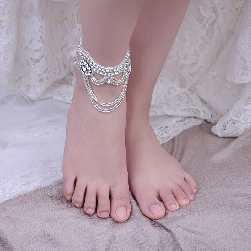 Tobillera de diamantes de imitación de cristal de lujo, Anillo de pie de novia para boda, sandalias de playa descalzas sexis para mujer, accesorio de joyería