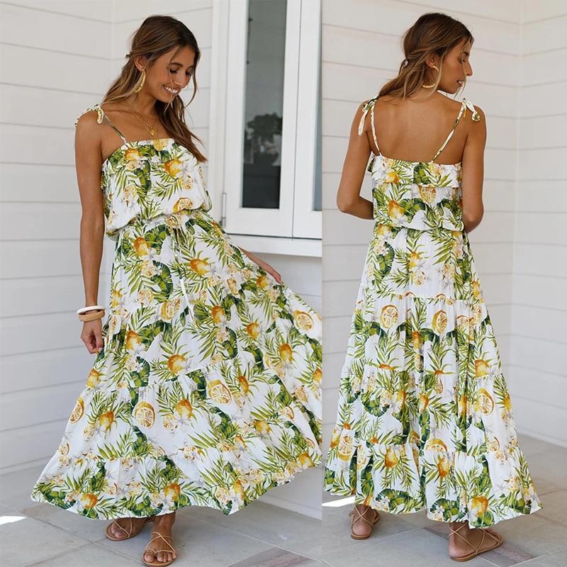2020 Lente Zomer Nieuwe Casual Holiday Tropische Regenwoud Print Lace Strap Zaraing Vadiming Sheining Zafuler Sukienka Boho Jurk