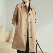 Women Trench Coat Straight Lapel Mid-length Solid Color Spring And Autumn New All-Match Korean Fashi