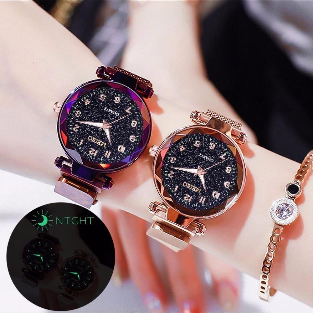 2020 New Hot Sale Women Magnet Buckle Starry Sky Luminous Watch Luxury Ladies Stainless Steel Quartz