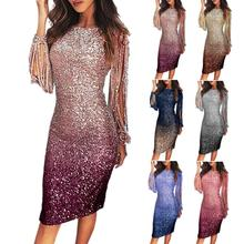 Sexy Women Long Tassel Sleeve Shiny Sequins Gradient Bodycon Knee-length Dress Formal Gown Party Gow