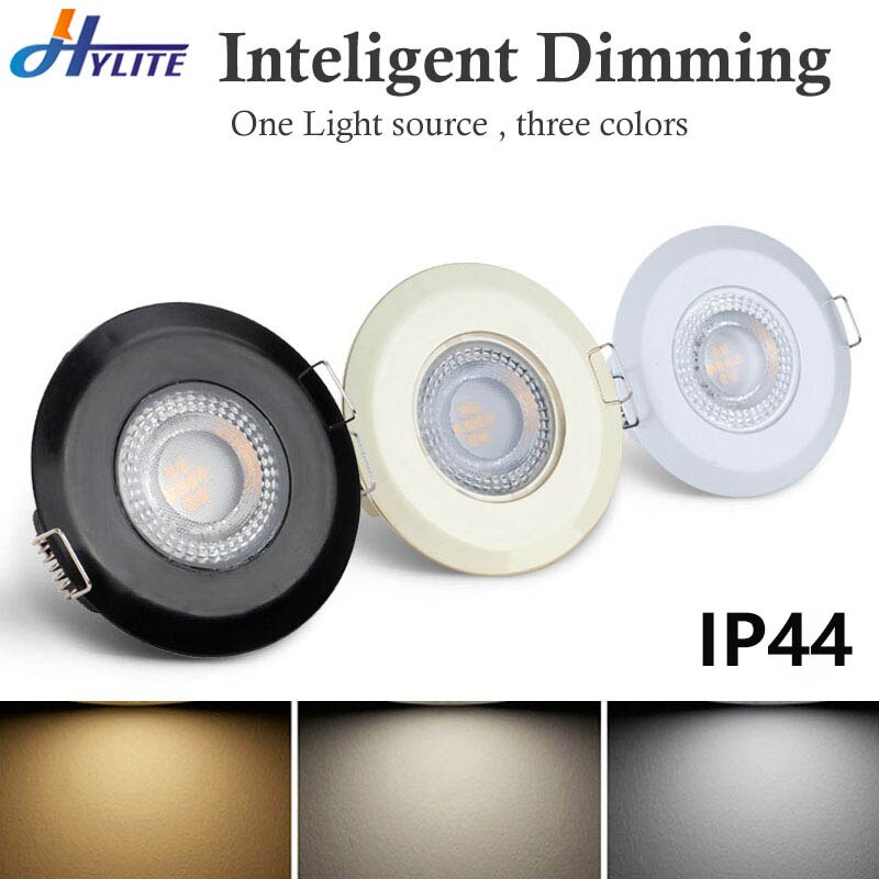 Downlight LED impermeable 5W AC 85V-265V de techo regulable lámpara IP44 empotrada...