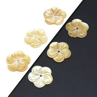 5pcs 2021new natural seawater flower shaped golden shell pendant beads crafts making diy necklace bracelet anklet jewelry gift