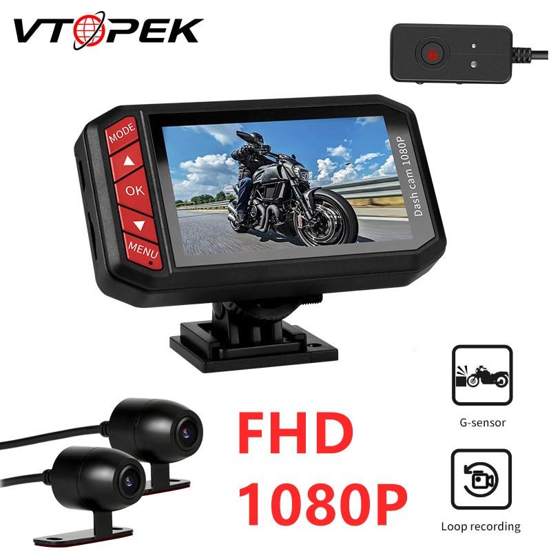 Vtopek دراجة نارية صندوق أسود FHD 1080P المزدوج داش كام موتو مسجل فيديو DVR موتو كاميرا الدراجة WiFi التحكم حلقة تسجيل