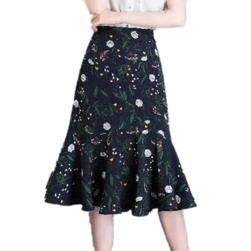Женская шифоновая юбка-трапеция Fishtail, сеточная юбка с цветочным принтом и высокой талией, P3, 512