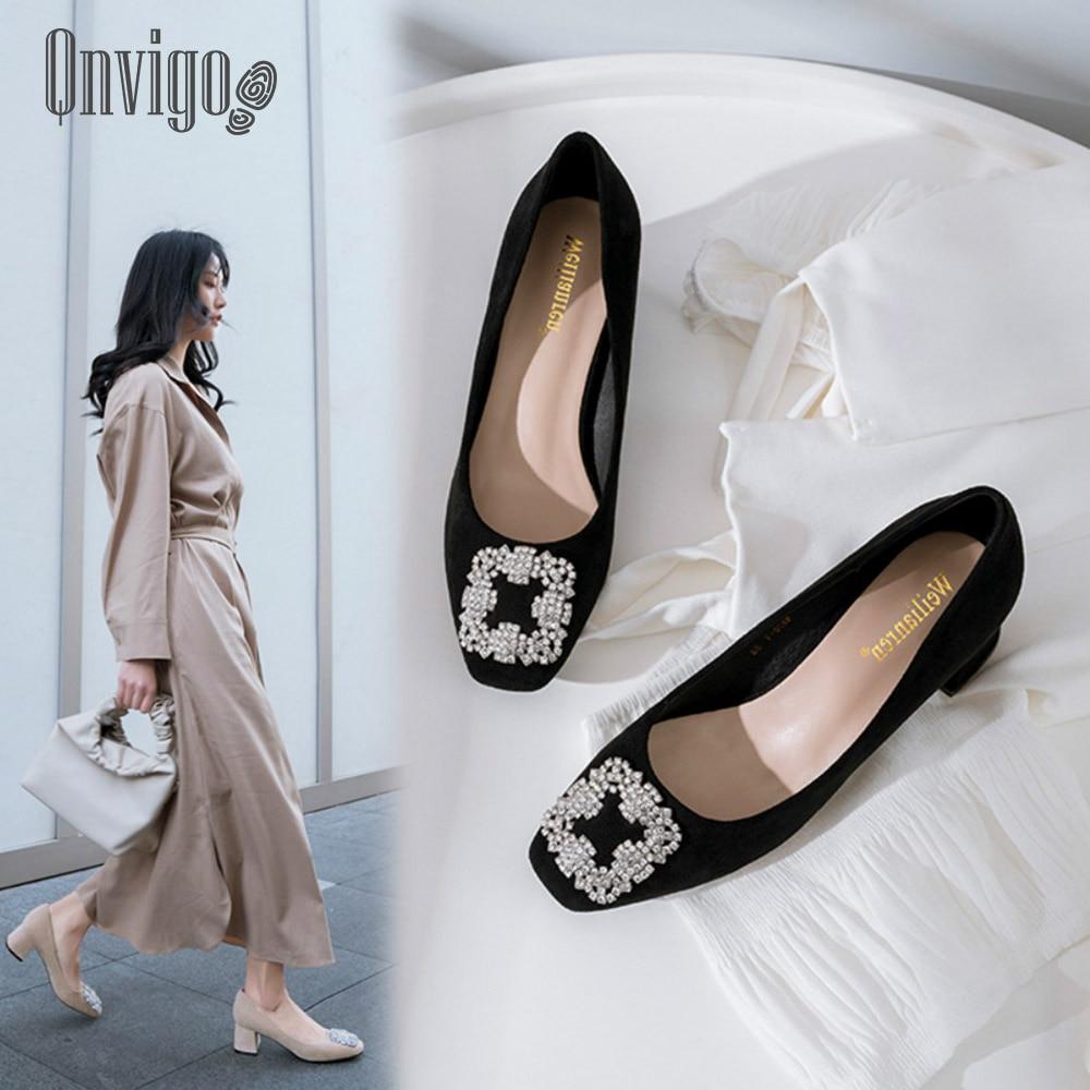 Zapatos Qnvigo para mujer, zapatos de tacón medio para oficina, elegantes zapatos negros para mujer, zapatos de tacón blanco con diamantes de imitación para boda, zapatos brillantes 2020