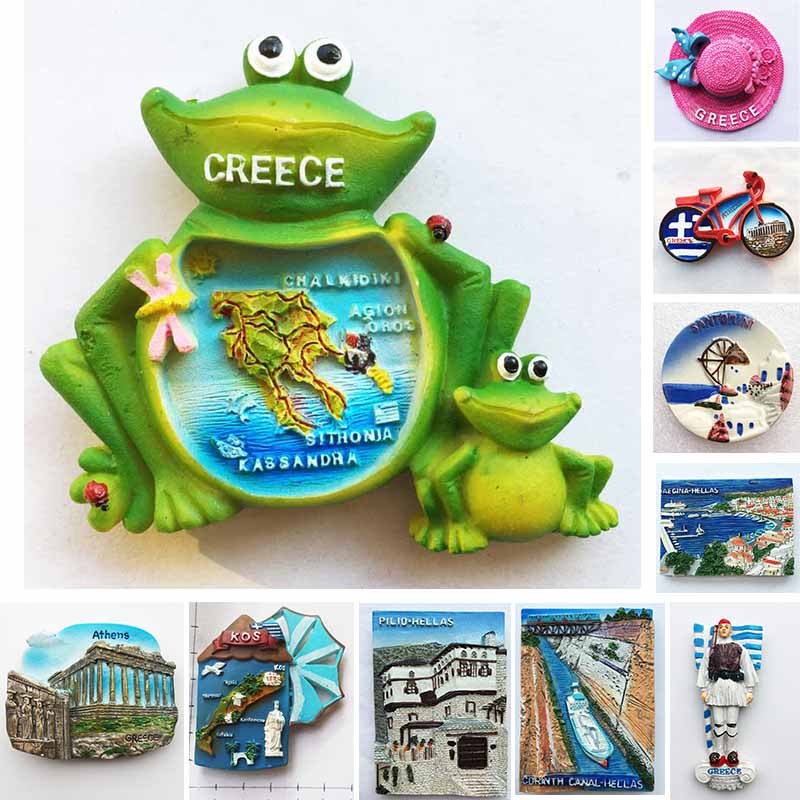 Greece Tourism Fridge Magnet Frog Stickers Athens Santorini Pilio Hellas Leptokaria Travel Refrigerator Stickers Home Decoration