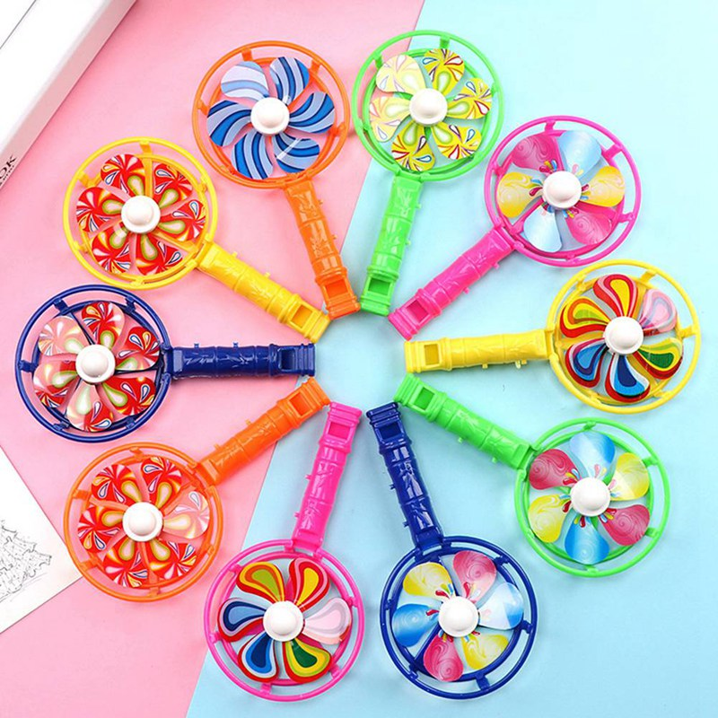 5PCS Colorful Windmill Kids Baby Toys Mini Handle Pinwheel Wind Spinner Party Decor Birthday Gift Children Musical Pinwheels