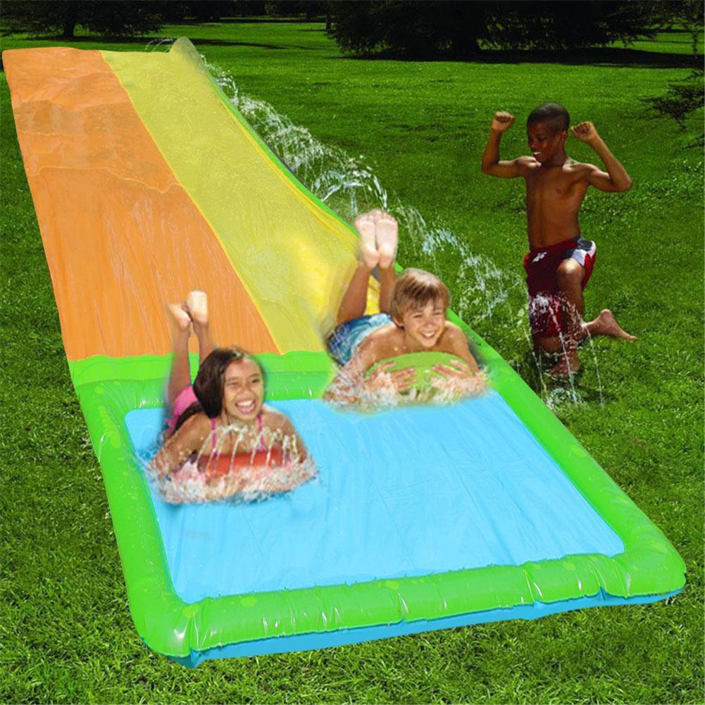 Tobogán de agua, toboganes de agua para césped para niños, espray de agua de playa de verano, juegos de piscina doble, toboganes de agua para niños