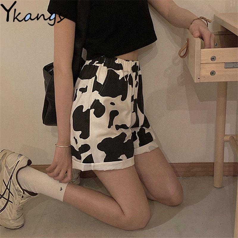 Harajuku estilo coreano streetwear impressão de vaca esporte shorts joggers mulheres sweatpants em linha reta elástico cintura alta ampla perna shorts novo