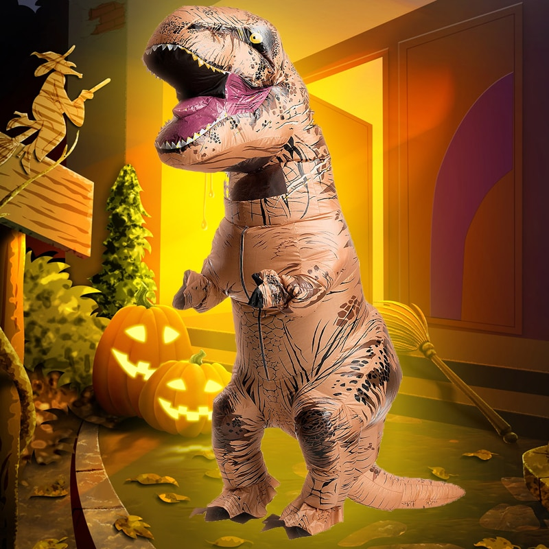 T-Rex نفخ زي عيد الميلاد ازياء ديناصور تريكس الملابس مضحك زي تنكر فساتين الكبار