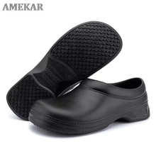 New Men's Chef Kitchen Working Slippers Garden Shoes Summer Breathable Mules Clogs Men Anti Slip Uni