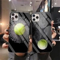 cutewanan tennis ball movement phone cover tempered glass for iphone 11 pro xr xs max 8 x 7 6s 6 plus se 2020 case