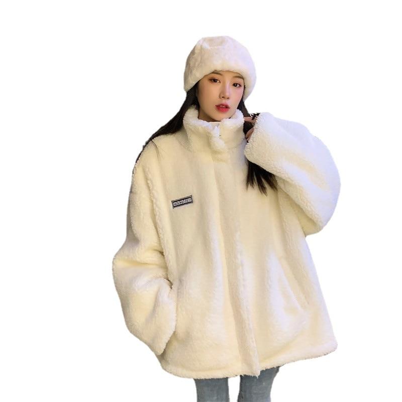 Утепленная двухсторонняя хлопковая куртка с воротником-стойкой и надписью, женская зимняя свободная модная однотонная теплая куртка на мо...