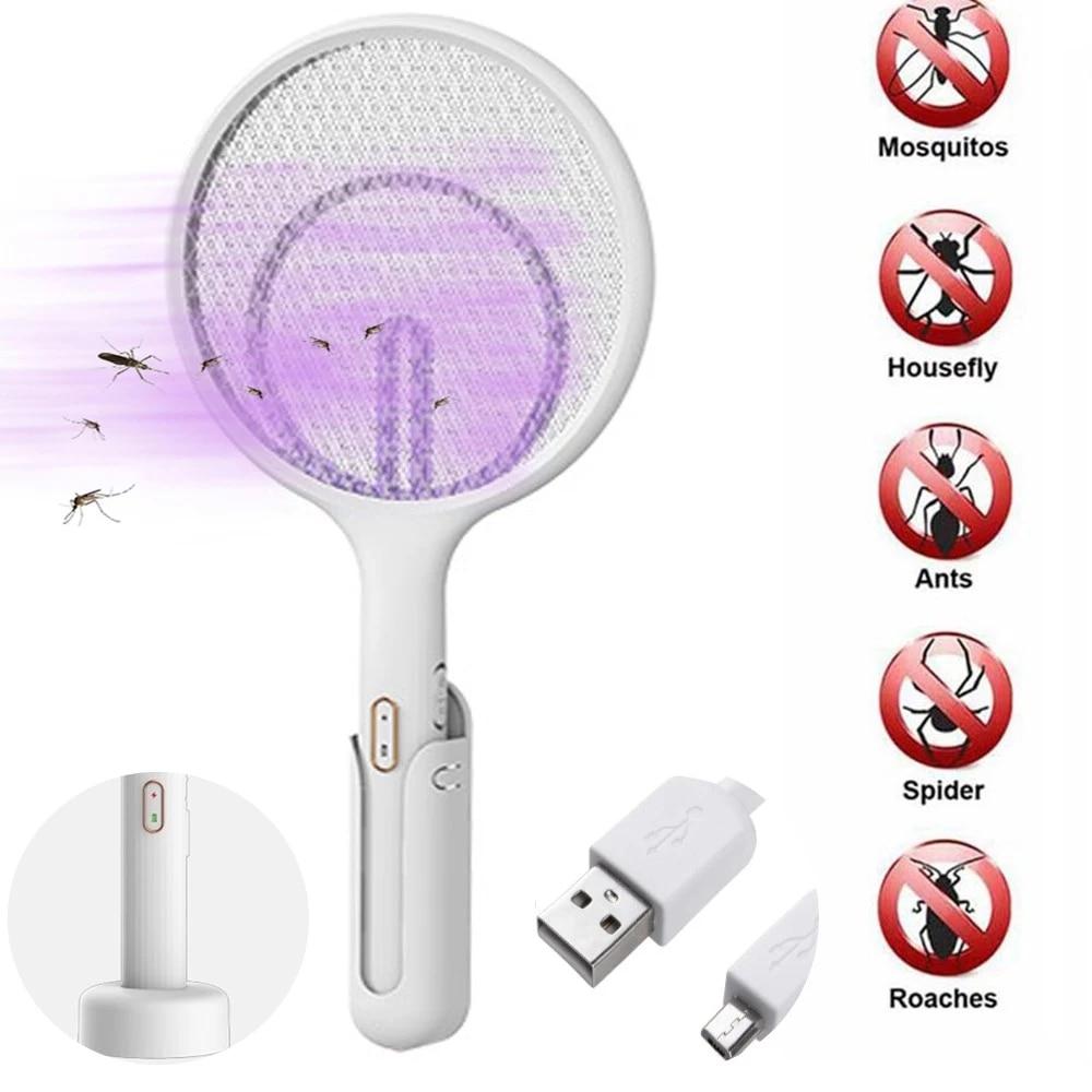Elétrica voar mosquito raquete recarregável elétrica mosquiteiro mosquiteiro usb mosquitos assassino handheld bug zappers com gancho + stander