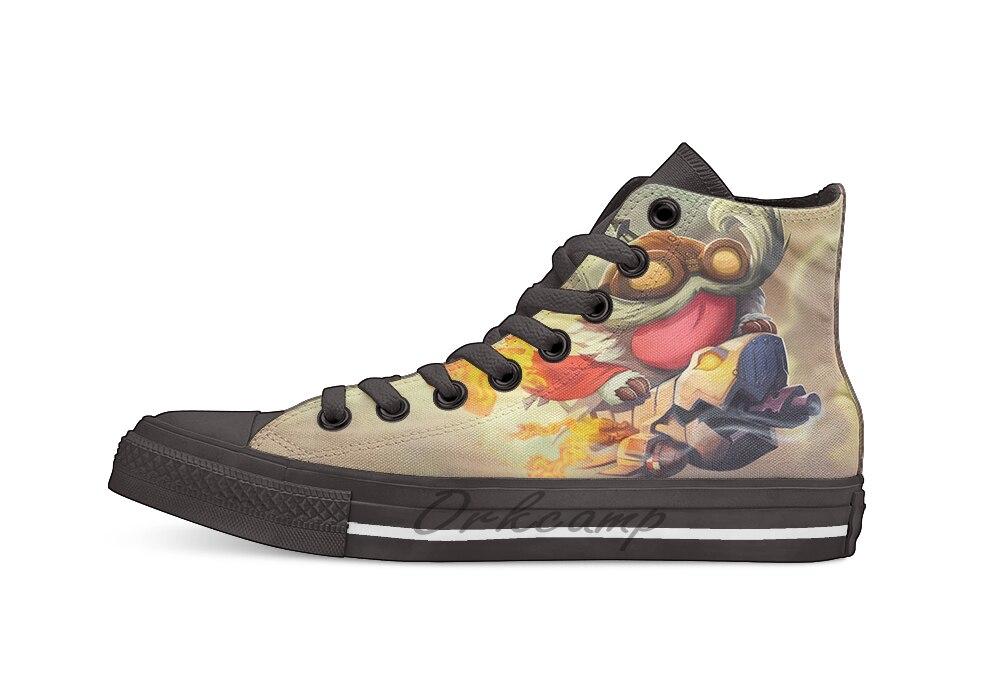 Esport, personaje del juego Corki Cheryl, Liga de la leyenda, diseño de lona de alta calidad, zapatos personalizados, zapatos planos casuales, triangulación de envíos