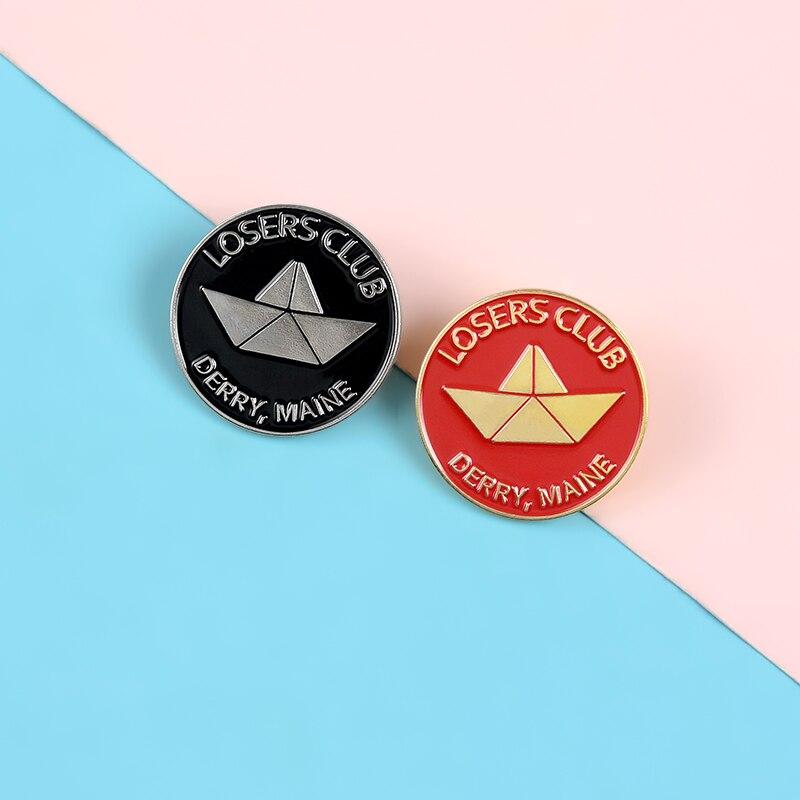 Nós somos perdedores pinos derry maine perdedores clube esmalte metal pinos preto vermelho broches emblemas lapela roupas saco pinos feminino jóias presente