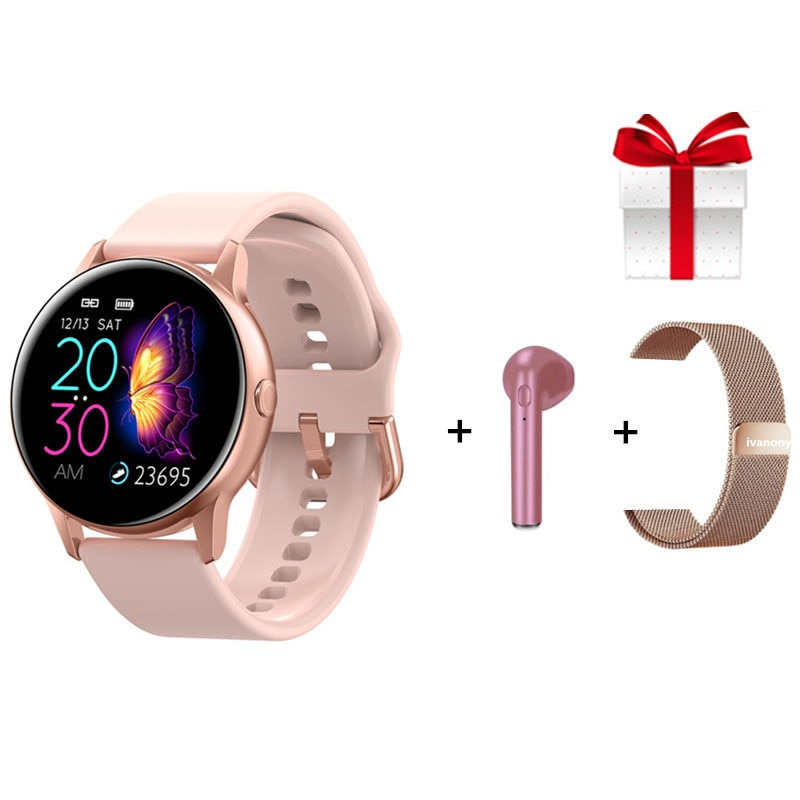 Relógio inteligente dt88 + correia + eaphone, smartwatch conjunto para mulheres e homens, monitor de frequência cardíaca ip68, à prova d água, rastreador de fitness para homens ios android